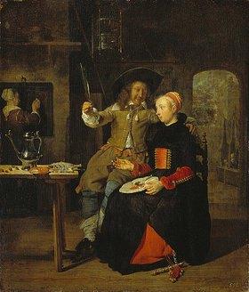Gabriel Metsu: Selbstbildnis mit seiner Frau Isabella de Wolff im Wirtshaus