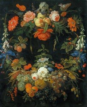 Abraham Mignon: Ein Blumen- und Früchtekranz