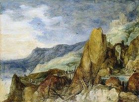 Joos de Momper d.J.: Berglandschaft mit geknickten Tannen in einem Strome. Vor