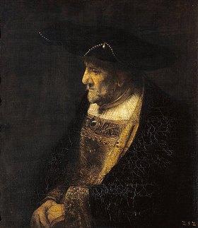 Rembrandt van Rijn: Bildnis eines Mannes mit Perlen am Hut