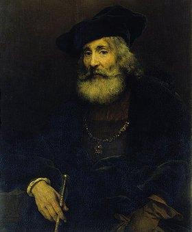 Rembrandt van Rijn: Bildnis eines alten Mannes mit Stock und Hut