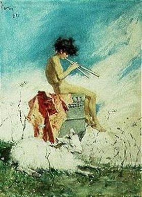 Mariano Fortuny: Idylle. Schalmei blasender Knabe