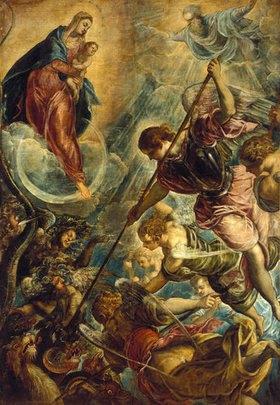 Tintoretto (Jacopo Robusti): Der Kampf des Erzengels Michael mit dem Satan. Gegen