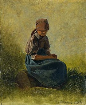 Carl Spitzweg: Sitzendes Bauernmädchen mit gefalteten Händen