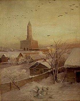 Alexei Sawrassow: Der Schukarew-Turm in Moskau im Winter
