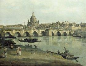 Bernardo (Canaletto) Bellotto: Dresden vom rechten Elbufer unterhalb der Augustusbrücke (Ausschnitt zu Bildnummer 16718)