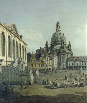Bernardo (Canaletto) Bellotto: Der Neumarkt in Dresden vom Jüdenhofe aus (Ausschnitt)