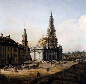 Bernardo (Canaletto) Bellotto: Dresden vom linken Elbufer oberhalb des Altstädter Brückenkopfes (Detail)