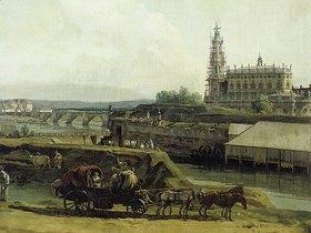 Bernardo (Canaletto) Bellotto: Dresden vom linken Elbufer unterhalb der Festungswerke (Ausschnitt)