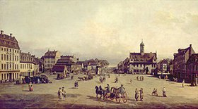 Bernardo (Canaletto) Bellotto: Der Neustädter Markt in Dresden. 1750(?)