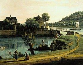 Bernardo (Canaletto) Bellotto: Die Schifftor-Vorstadt in Pirna. (Ausschnitt). Zwischen