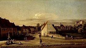 Bernardo (Canaletto) Bellotto: Die Breitegasse in Pirna mit der Postmeilensäule. Zwischen