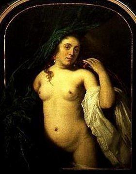 Bartholomeus van der Helst: Bildnis einer jungen Frau an einem Vorhang