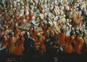 Werkstatt Mytens (Meytens) d.J.: Hochzeit Josephs II. mit Isabella von Parma.Hoftafel in der Anticamera.Detail