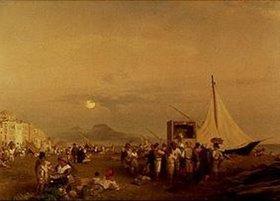 Oswald Achenbach: Kasperltheater am Strand von Neapel