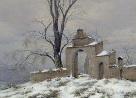 Caspar David Friedrich: Einsames Friedhofstor im Winter