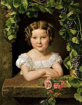 Ferdinand Georg Waldmüller: Kleines Mädchen, in einem von Weinlaub umrankten Fenster