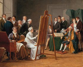 Marie Gabrielle Capet: Atelierszene (Mme. Vincent in ihrem Atelier, den Maler J.M. Vien malend)