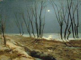 Carl Blechen: Landschaft im Winter bei Mondschein. Nach