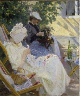 Peter Severin Kroyer: Zwei Frauen im Garten (In der Laube)