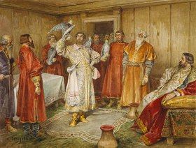 Klawdij Wassiljew Lebedjeff: Falkner vor einem russischen Fürsten