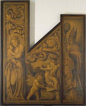 Hans Holbein d.J.: Maria mit dem Kinde und dem hl. Pantalus Innenseite der  Orgelflügel aus dem