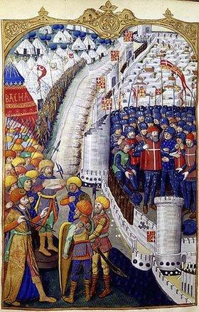 französisch Handschrift: Die Belagerung einer muselmanischen Stadt durch französische Kreuzritter