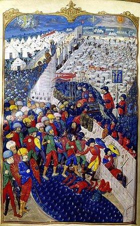 französisch Handschrift: Französische Kreuzritter erobern eine muselmanische Stadt