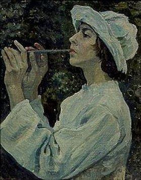 Michail Wassiljew Nesterow: Frau mit Flöte