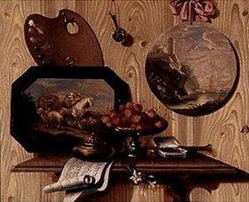 Antonio (Scarpetta) Mara: Trompe-l'Oeil: Schale mit Kirschen,Dose, Notenblatt,Palette und zwei Bildern