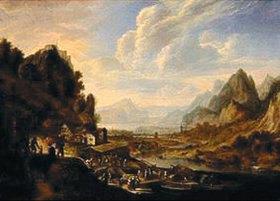Herman Saftleven: Gebirgige Flusslandschaft mit anlegenden Schiffen, Bauern und Händlern
