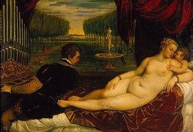 Tizian (Tiziano Vecellio): Venus mit dem Orgelspieler und einem Putto. 1548(?)