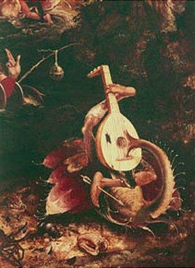 Jan Mandyn: Detail aus Der hl.Christophorus, Phantasiefigur mit Mandoline