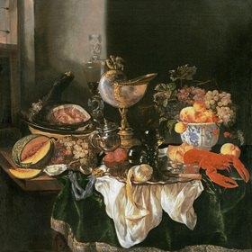 Abraham van Beyeren: Prunkstilleben mit Nautiluspokal und Hummer