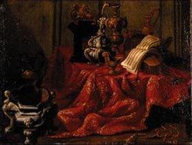 Antonio Gialdisi: Stilleben mit Notenblatt auf roter Tischdecke