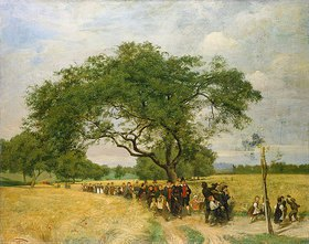 Hans Thoma: Sommerliche Landschaft mit einem Hochzeitszug