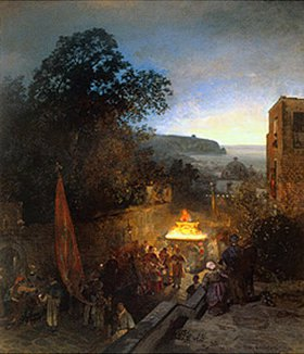 Oswald Achenbach: Prozession St.Anna auf Capri