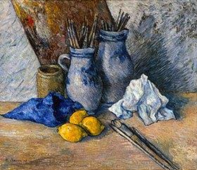 Heinrich Nauen: Zwei Krüge mit Pinseln und Zitronen