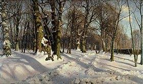 Peder Moensted: Verschneiter Winterwald im Sonnenlicht