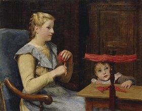 Albert Anker: Vreneli Stuckl mit Kind bei Handarbeiten