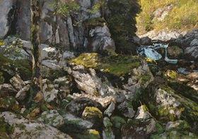 Carl Schuch: Felsige Waldlandschaft