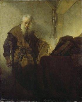 Rembrandt van Rijn: Der heilige Paulus, beim Schreiben innehaltend