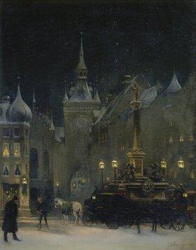 Johann Friedrich Hennings: Der Marienplatz in München in einer Winternacht