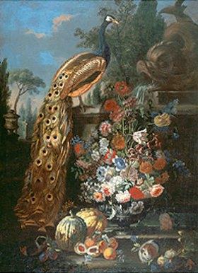Bartolomeo Ligozzi: Stillleben mit Blüten, Früchten, Meerschweinchen und Pfau