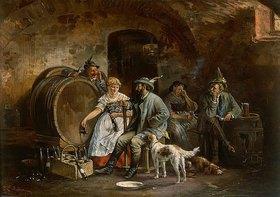 Johann Adalbert Heine: Zecherei im Weinkeller beim Abfüllen der Weinflaschen