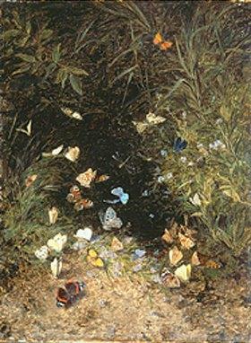 Olga Wisinger-Florian: Wiesengrund mit bunten Schmetterlingen