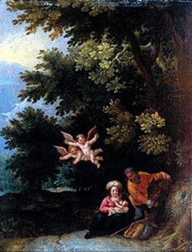 Jan Brueghel d.J.: Die hl.Familie bei der Ruhe auf der Flucht nach Ägypten