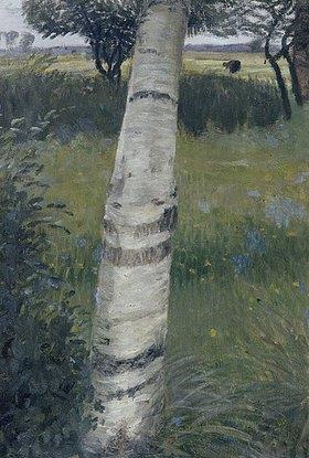 Otto Modersohn: Birke in blühender Landschaft