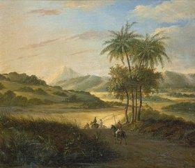 Holländisch: Landschaft auf Java mit Reitern