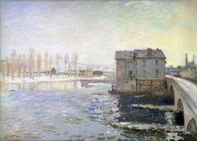 Alfred Sisley: Wassermühle an der Brücke von Moret im Winter